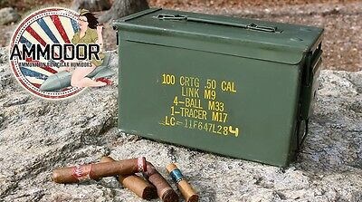 Ammodor Ammo Can Cigar Humidor - .50 cal surplus ammunition box with Deluxe Kit