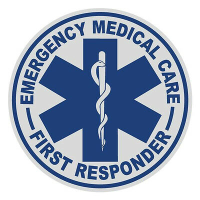First Responder Small Round Reflective Emergency Firefighter Decal Sticker