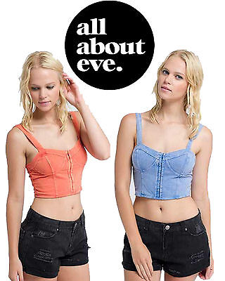 All About Eve Dasha Bustier Crop Top Sleeveless Clip Up Front Lined RRP $59.95