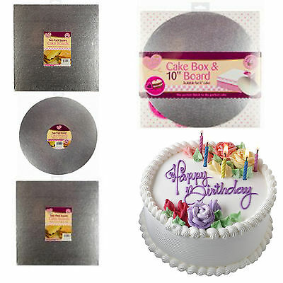 "Silver 10"" Round And Square Cake Drum Boards And Boxes Packs Home Baking Kits"