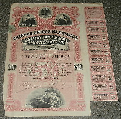 MEXICO, Estados Unidos Mexicanos, baby pink lady, £20 bond with Coupons 1896