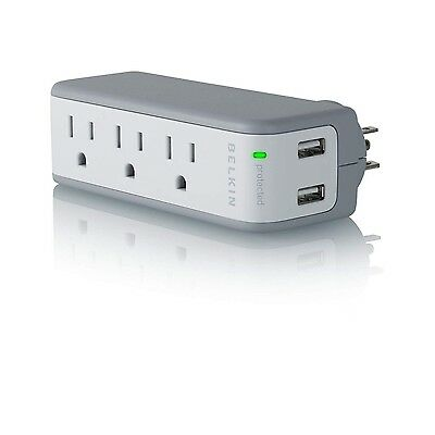 Belkin Mini Surge Protector Dual USB Charger Lifetime Warranty Great for Travel