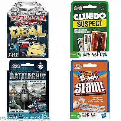 Hasbro Card Games - Monopoly Deal / Cluedo Suspect / Boggle Slam / Battleship