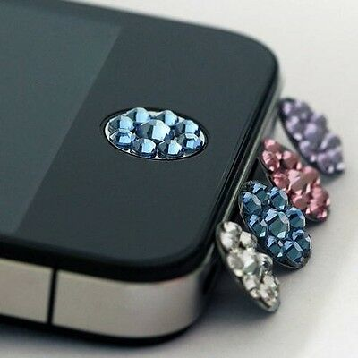 One Blue Bling Rhinestone iPhone Home Button Sticker