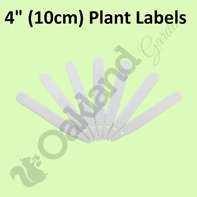 "200 X 4"" White Plastic Plant Stick Labels 10Cm Seed Tray Marker Markers"
