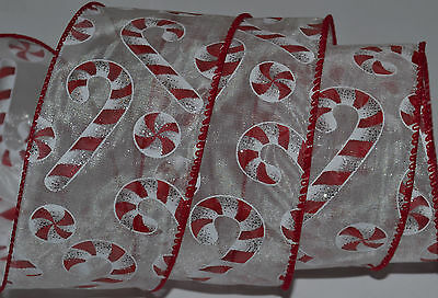Wired Ribbon~Sheer~Christmas Candy Cane~Peppermint~Red~White~Wreath~Holiday~Bow