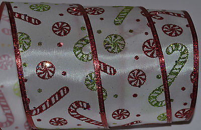 Wired Ribbon~Christmas Candy Cane~Peppermint~Red Sparkle~Wreath~Gift~Holiday~Bow