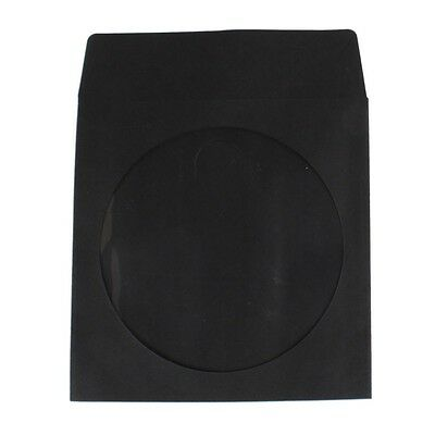 NEW 100 Black CD DVD Paper Sleeve Envelope with Window and Flap 100g