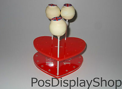 2 x Red Heart Cake Pop Stand - Holds up to 17 Cake Pops / Lollipops