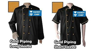 Chef Jackets Black with Gold Piping - See handy Chef store for Chef pants, Caps