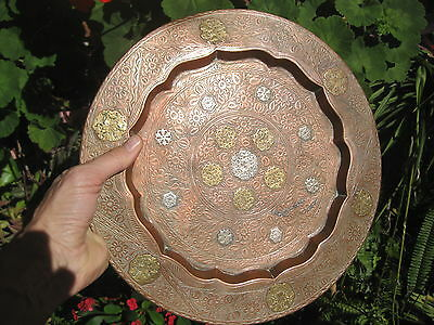 Antique Islamic heavy copper plate with gold and silver inlays, 30cm
