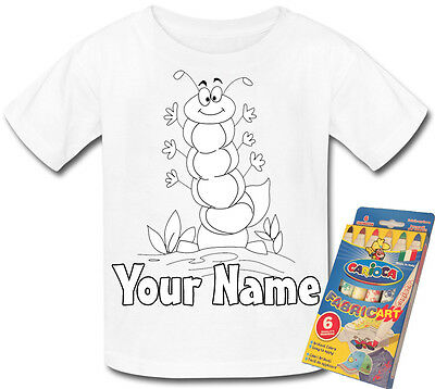 Caterpillar Colour In Your Own Personalised T-Shirt *Fun Activity Gift & Named*