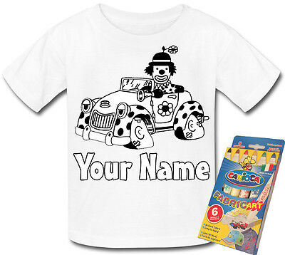 Clown Car Colour In Your Own Personalised T-Shirt * Fun Activity Gift & Named *