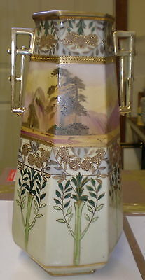 Tall Handpainted Two Handled NIPPON Scenic Vase - Moriage Gold Six Sided