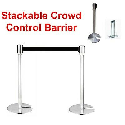 2 Crowd Control Stanchions Stand Queue Line Post Barrier Retractable Belt Black