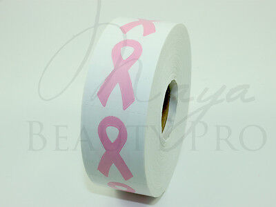 Roll of 1000 PINK RIBBON Tanning Sticker Scrapbooking SpraytanTanning Bed Tattoo