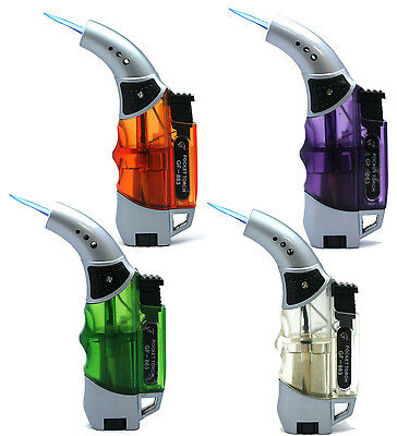 4 Pack Transparent 45 Degree Jet Flame Torch Lighter Refillable Windproof