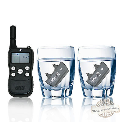 Remote Dog Training Collar Rechargeable 5m Waterproof Shock Vibrate Tone 2 Dogs