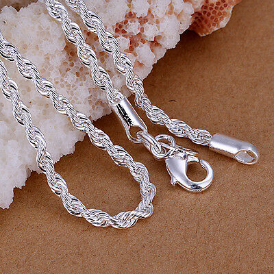 "Wholesale 925 Silver Solid Silver 3MM Flash Wrested Rope Chain Necklace  16""-20"""