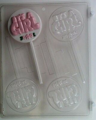 Its A Girl Lollipop Clear Plastic Chocolate Candy Mold B001