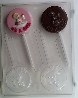 Baby Its A Girl Lollipop Clear Plastic Chocolate Candy Mold B051