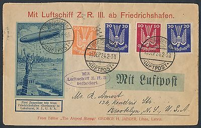 Zr-3 Uss Los Angeles Zeppelin Flight Cover Germany To Usa Maiden Flt 1924 Br1332