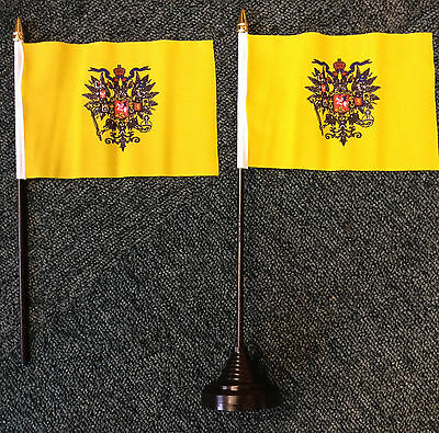 Russian Tsar Desk Top Flag Russia Moscow Orthodox Heradlry Tsarist Monarchy bn