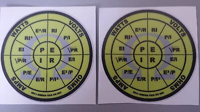 (2) OHMS law stickers decals PEIR wheel Omega