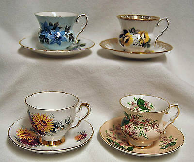 Lot of 4 ROYAL STAFFORD ENGLAND FLORAL TEA CUP & SAUCER BONE CHINA CUPS SAUCERS