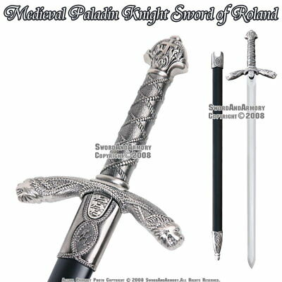 Medieval Paladin Crusader Knight Sword of Roland w/ Scabbard