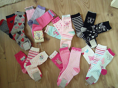 Children Girls 3 Pair/pack Mix Socks Uk 12.5-3.5 Eur-31-36,mix Designs 7-8 Year