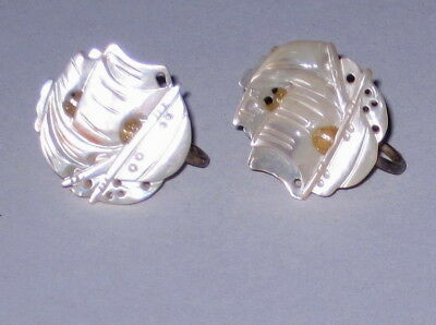 Vintage Antique Mother Of Pearl Ship Screw-On Earrings