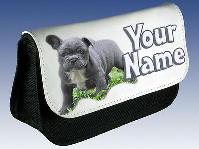 0001 Personalised NAME FRENCH BULLDOG Pencil Case Makeup Bag for Stationery