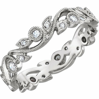 Genuine Diamonds 1/4 ct tw Eternity Anniversary Ring 14K Solid White Gold Size 7