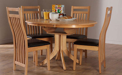 Townhouse Bali Extending Oak Dining Table And 4 6 Chairs Set