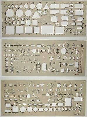 Set of 3 Metric Electronic Electrical Flow Chart Symbol Drawing Template Stencil