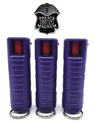 3 PACK Police Magnum pepper spray 1/2oz Purple Molded Keychain Defense Security
