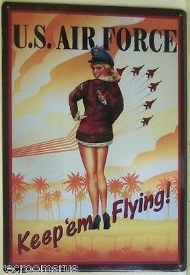 UNITED STATES AIR FORCE metal sign vintage style bomber pinup keep em flying