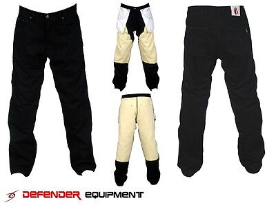 Black Motorcycle Motorbike Jeans Pants Trouser Lining Protection Straight Cut
