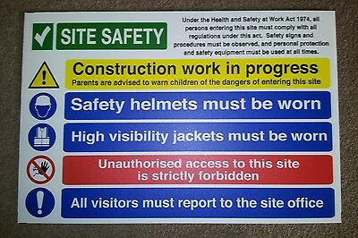 Building Site Construction Safety Sign - 600x400mm IN 5mm CORREX PVC WATERPROOF