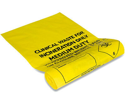 "Clinical Waste Bags Yellow 20 Litre -  11"" x 17"" x 26""  (Roll 50 Bags)"