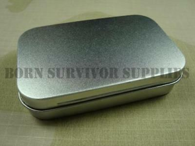 SURVIVAL KIT TIN HINGED LID Silver Small Empty Plain Metal Storage Bit Box Mini