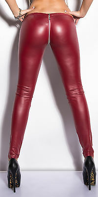 Sexy Clubwear Wet look  Stretchy LEGGINGS Zip Black Red size UK 8-10, 10-12