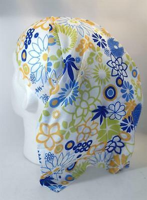 Multifunction head wrap neck tube scarf mask hat BLUE FLOWERS skiing snow board
