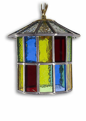 Leaded Lantern Chain Hanging Porch Light Multi Colour Glass Hand Made Tl62Pmc