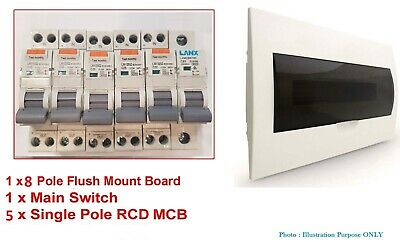 Complete 8 Pole Flush Switchboard + Safety Switches RCD MCB + Main Switch + MCB
