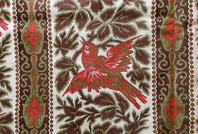 Antique 19thc  French Bird Roses Cotton Fabric~Madder Brown Olive Red ~ 1870's