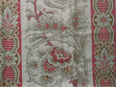 Antique 19thc French Floral Stripe Fabric ~ pink gray brown~ pillows  projects