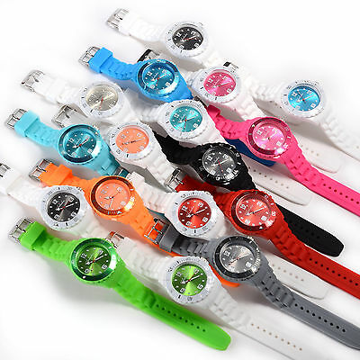 New Jelly Style Mens Womens Unisex Silicone Colorful Sport Quartz Watch Gift Box