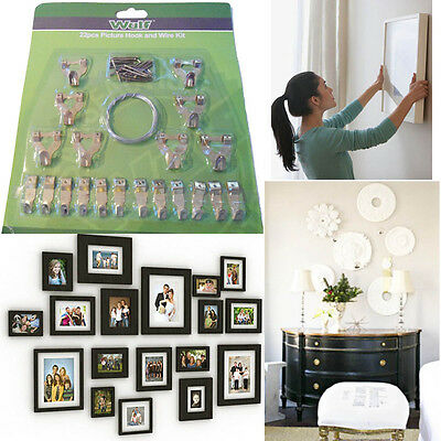 22pcs Picture Fitting Hooks Nails Screw Kit Wall Hang Picture Frame Canvas Photo